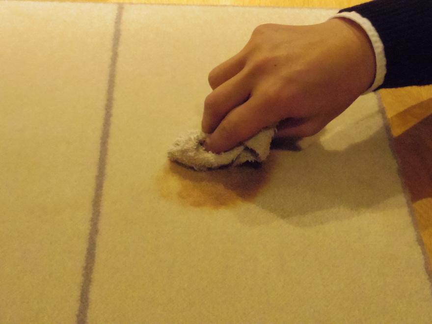 乾いた布でカーペットにこぼしたワインを吸い出す