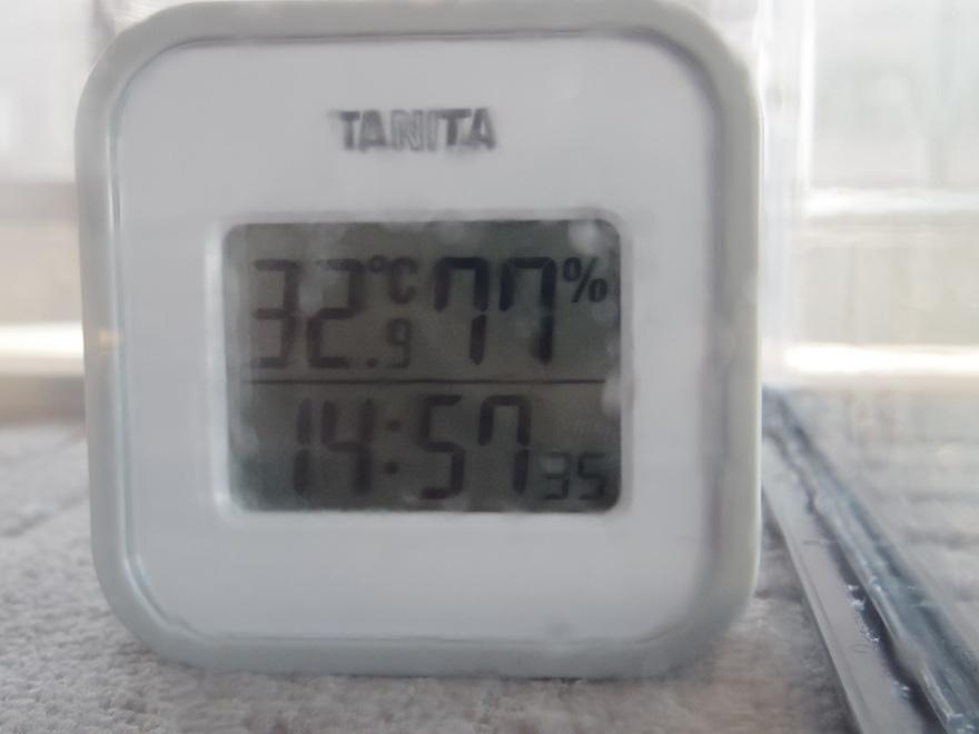 湿度計77%の表示