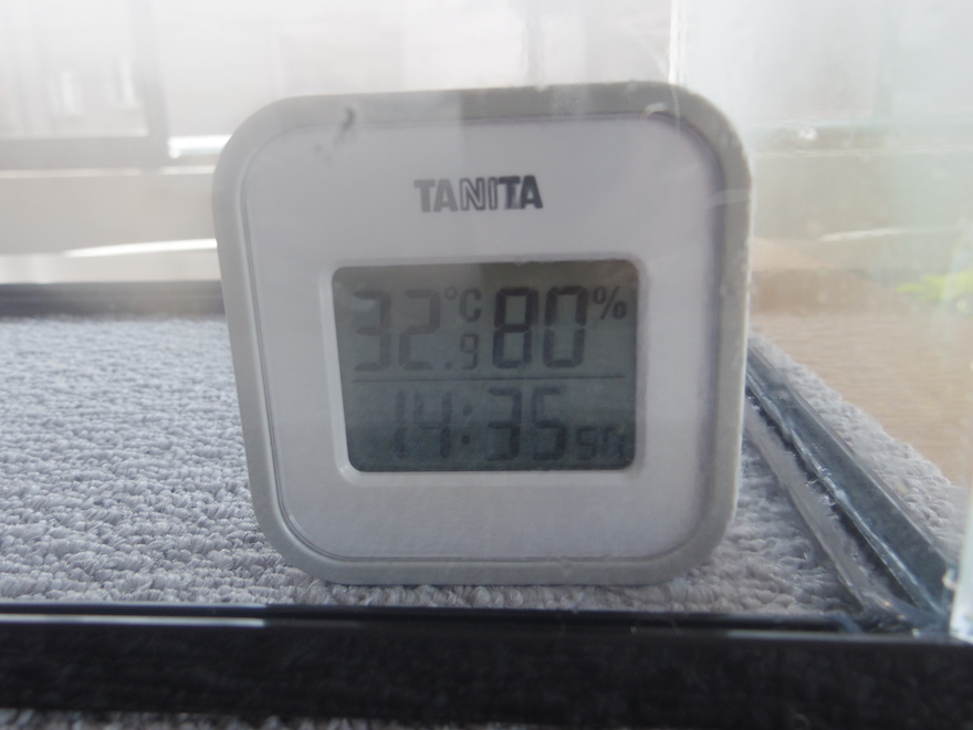 湿度計に80%の表示
