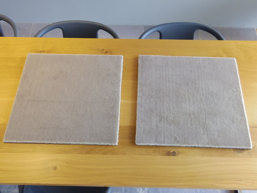 新品のウールタイルと洗濯後のウールタイルの比較。